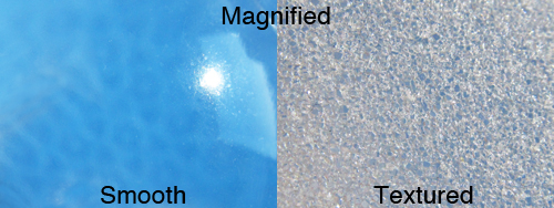 Magnified smooth and textured implant shells
