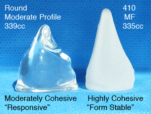 339cc moderately cohesive vs 410 MF 335cc highly cohesive silicone gel